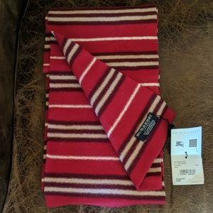 New Burberry Scotch Stripe Red Long Skinny Scarf